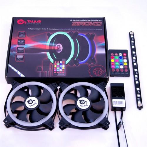 Talius kit Siroko (2ventiladores doble aro Rgb + tira led + remote control)