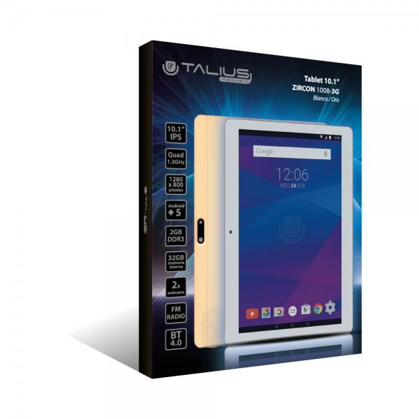 "Talius tablet 10,1"" Zircon 1008-3G Quad Core, Ram 2Gb, 32Gb, IPS, android 5.1 White/Gold"