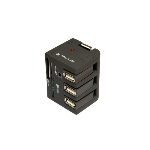 Talius hub 3 puertos USB 2.0+ lector TAL-EU-148 black