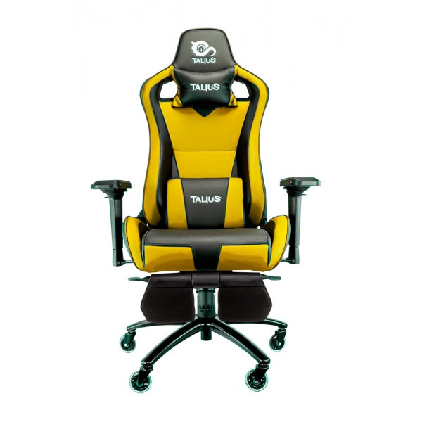 Talius silla Caiman gaming negra/amarilla, reposapies, 4D, Frog, base metal, ruedas 75mm