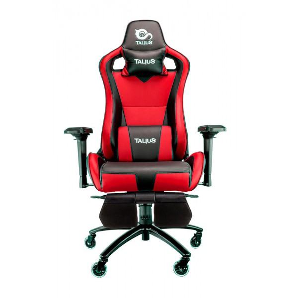 Talius silla Caiman gaming negra/roja, reposapies, 4D, Frog, base metal, ruedas 75mm, gas c